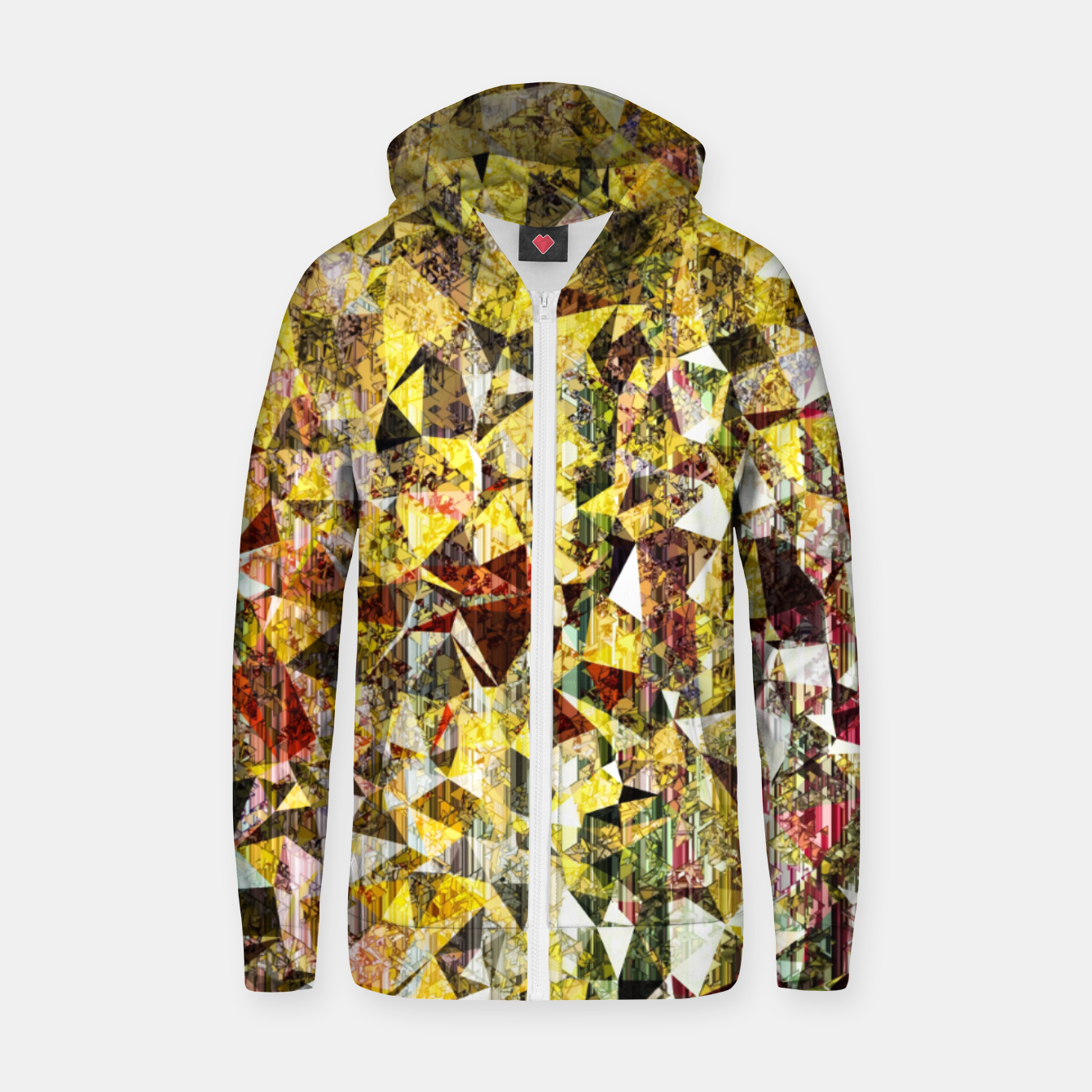 Image of fractal geometric triangle shape abstract art in yellow and red Zip up hoodie - Live Heroes