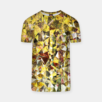 Thumbnail image of fractal geometric triangle shape abstract art in yellow and red T-shirt, Live Heroes