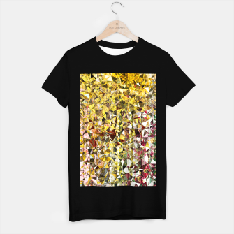 Thumbnail image of fractal geometric triangle shape abstract art in yellow and red T-shirt regular, Live Heroes