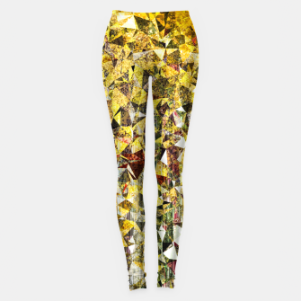 Thumbnail image of fractal geometric triangle shape abstract art in yellow and red Leggings, Live Heroes