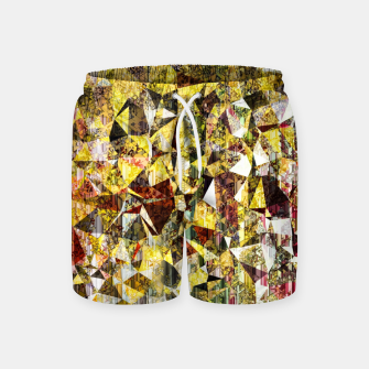 Thumbnail image of fractal geometric triangle shape abstract art in yellow and red Swim Shorts, Live Heroes