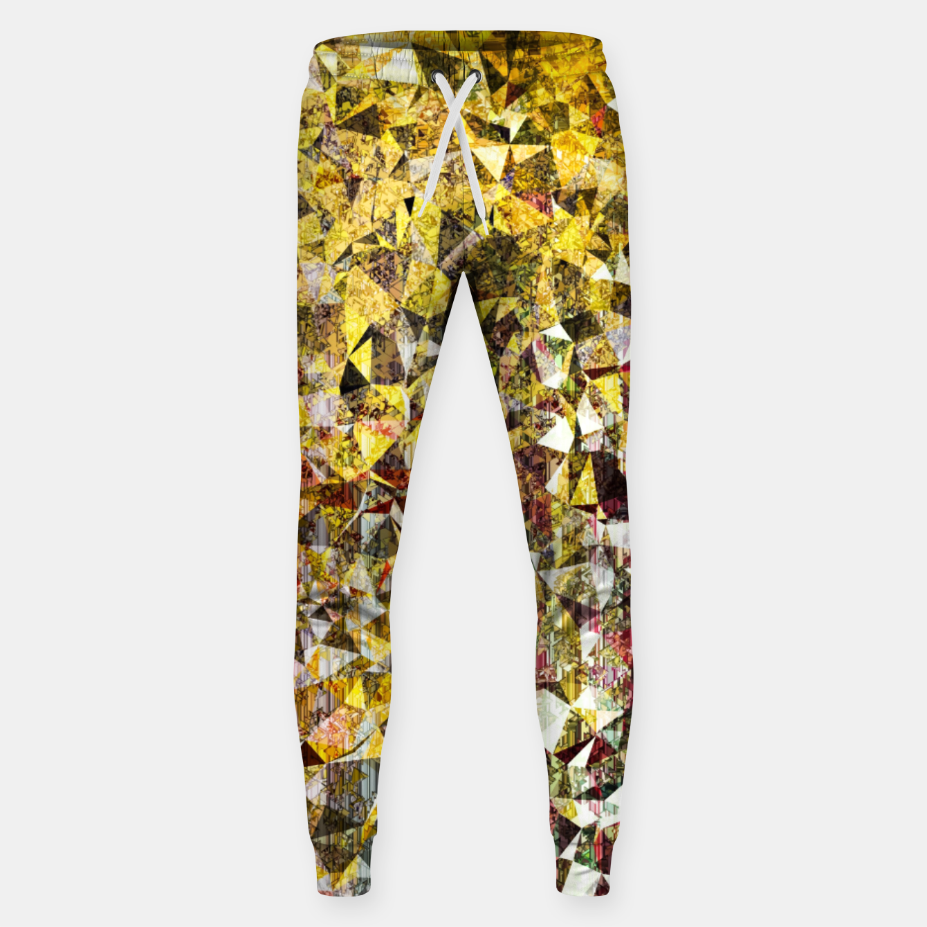 Image of fractal geometric triangle shape abstract art in yellow and red Sweatpants - Live Heroes