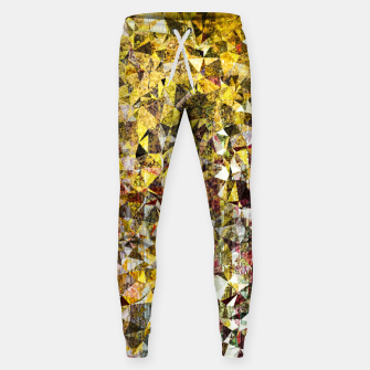 Thumbnail image of fractal geometric triangle shape abstract art in yellow and red Sweatpants, Live Heroes