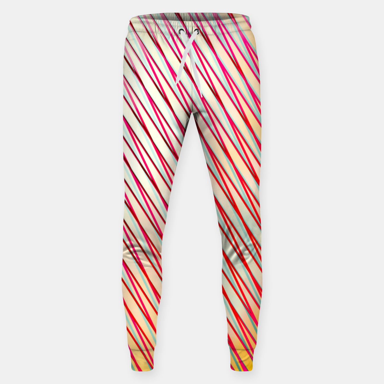 Image of geometric line pattern abstract background in pink yellow blue Sweatpants - Live Heroes