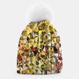 Thumbnail image of fractal geometric triangle shape abstract art in yellow and red Beanie, Live Heroes