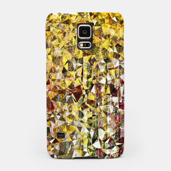 fractal geometric triangle shape abstract art in yellow and red Samsung Case thumbnail image