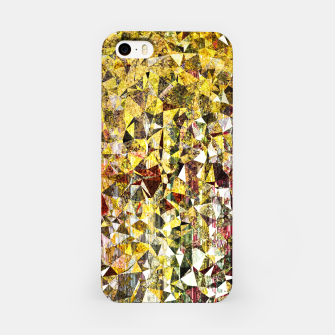 fractal geometric triangle shape abstract art in yellow and red iPhone Case thumbnail image