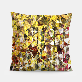 Thumbnail image of fractal geometric triangle shape abstract art in yellow and red Pillow, Live Heroes