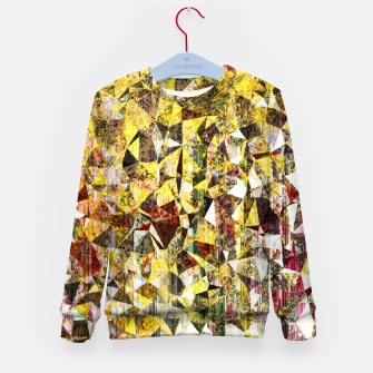 Thumbnail image of fractal geometric triangle shape abstract art in yellow and red Kid's sweater, Live Heroes