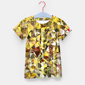 Thumbnail image of fractal geometric triangle shape abstract art in yellow and red Kid's t-shirt, Live Heroes