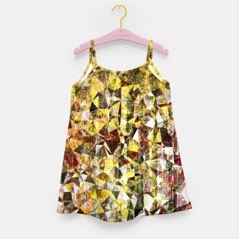 fractal geometric triangle shape abstract art in yellow and red Girl's dress thumbnail image
