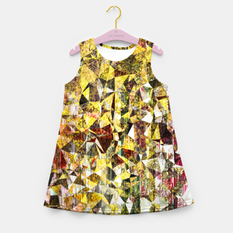 fractal geometric triangle shape abstract art in yellow and red Girl's summer dress thumbnail image