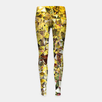 Thumbnail image of fractal geometric triangle shape abstract art in yellow and red Girl's leggings, Live Heroes