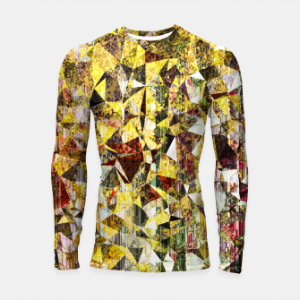 Thumbnail image of fractal geometric triangle shape abstract art in yellow and red Longsleeve rashguard , Live Heroes