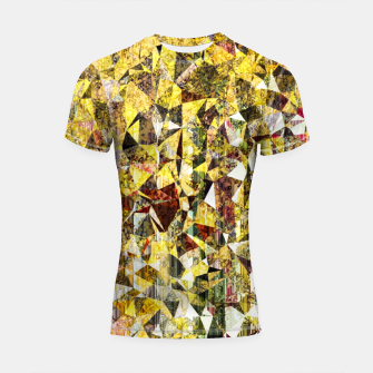 Imagen en miniatura de fractal geometric triangle shape abstract art in yellow and red Shortsleeve rashguard, Live Heroes