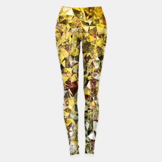 fractal geometric triangle shape abstract art in yellow and red Leggings thumbnail image