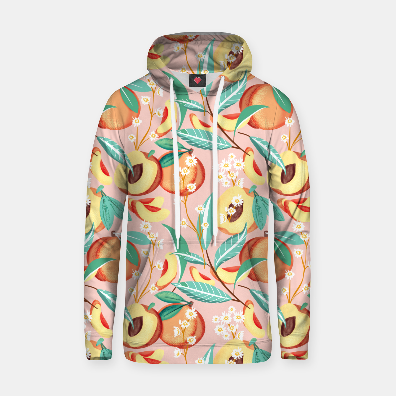 Image of Peach Season, Tropical Blush Fruit Botanical Nature Illustration, Colorful Bohemian Summer Garden Hoodie - Live Heroes