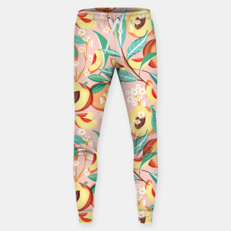 Thumbnail image of Peach Season, Tropical Blush Fruit Botanical Nature Illustration, Colorful Bohemian Summer Garden Sweatpants, Live Heroes
