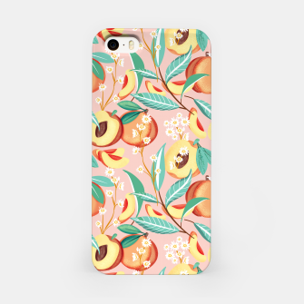 Thumbnail image of Peach Season, Tropical Blush Fruit Botanical Nature Illustration, Colorful Bohemian Summer Garden iPhone Case, Live Heroes