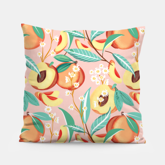 Peach Season, Tropical Blush Fruit Botanical Nature Illustration, Colorful Bohemian Summer Garden Pillow thumbnail image