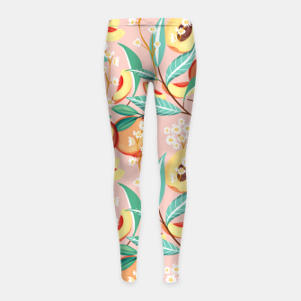 Peach Season, Tropical Blush Fruit Botanical Nature Illustration, Colorful Bohemian Summer Garden Girl's leggings thumbnail image