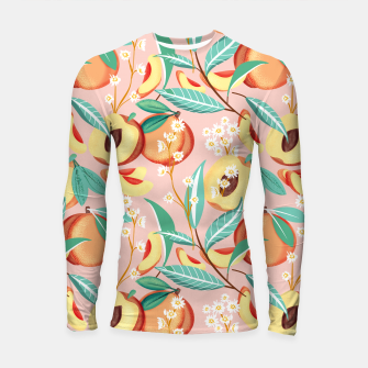 Peach Season, Tropical Blush Fruit Botanical Nature Illustration, Colorful Bohemian Summer Garden Longsleeve rashguard  thumbnail image