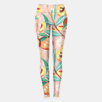 Peach Season, Tropical Blush Fruit Botanical Nature Illustration, Colorful Bohemian Summer Garden Leggings thumbnail image