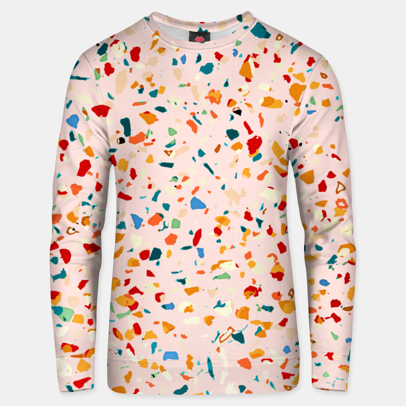 Image of Blush Terrazzo, Eclectic Colorful Abstract Geometrical Shapes Tiles, Pop of Color Graphic Design Unisex sweater - Live Heroes
