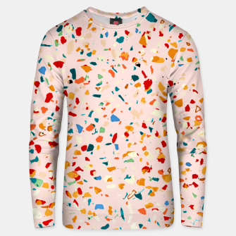 Blush Terrazzo, Eclectic Colorful Abstract Geometrical Shapes Tiles, Pop of Color Graphic Design Unisex sweater thumbnail image