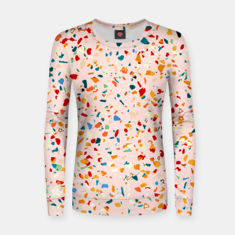 Blush Terrazzo, Eclectic Colorful Abstract Geometrical Shapes Tiles, Pop of Color Graphic Design Women sweater thumbnail image