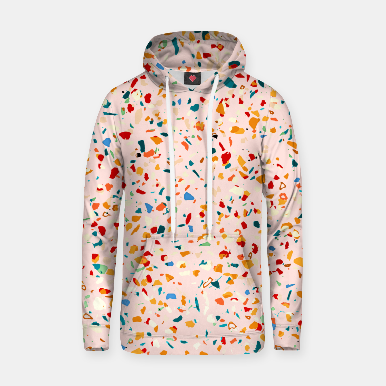 Image of Blush Terrazzo, Eclectic Colorful Abstract Geometrical Shapes Tiles, Pop of Color Graphic Design Hoodie - Live Heroes
