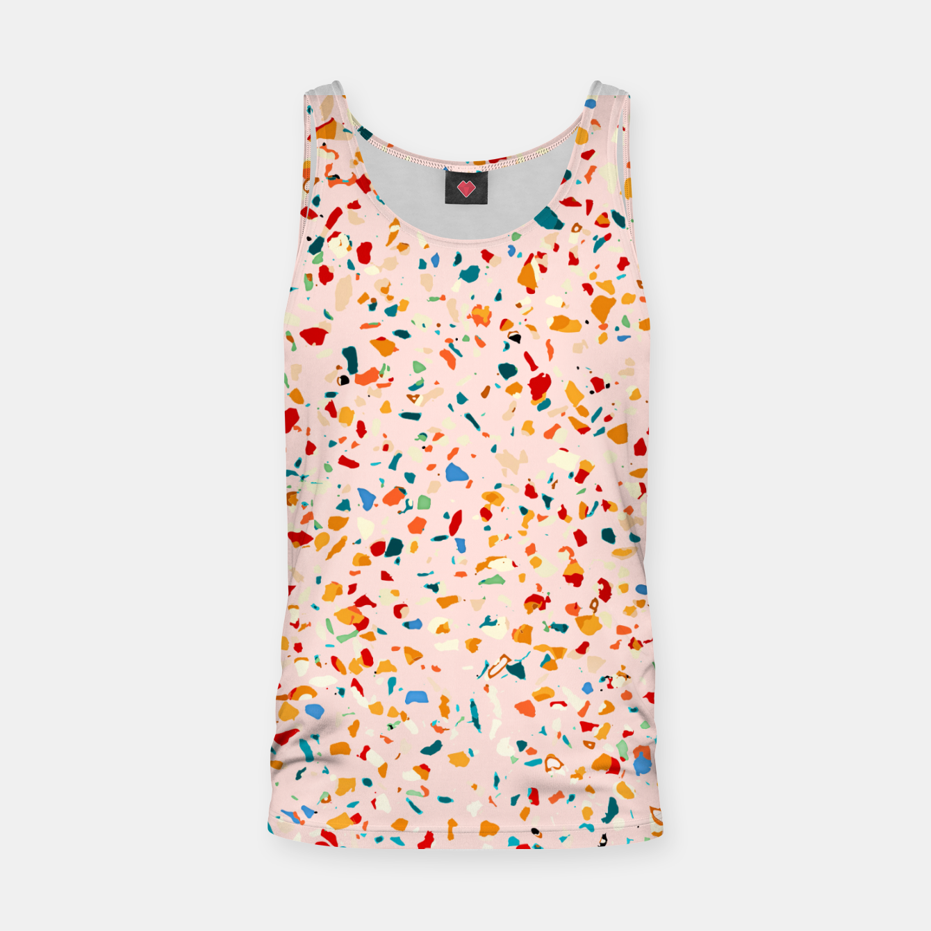 Image of Blush Terrazzo, Eclectic Colorful Abstract Geometrical Shapes Tiles, Pop of Color Graphic Design Tank Top - Live Heroes