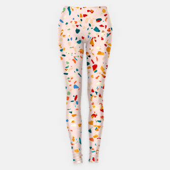 Miniatur Blush Terrazzo, Eclectic Colorful Abstract Geometrical Shapes Tiles, Pop of Color Graphic Design Leggings, Live Heroes