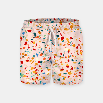 Blush Terrazzo, Eclectic Colorful Abstract Geometrical Shapes Tiles, Pop of Color Graphic Design Swim Shorts thumbnail image