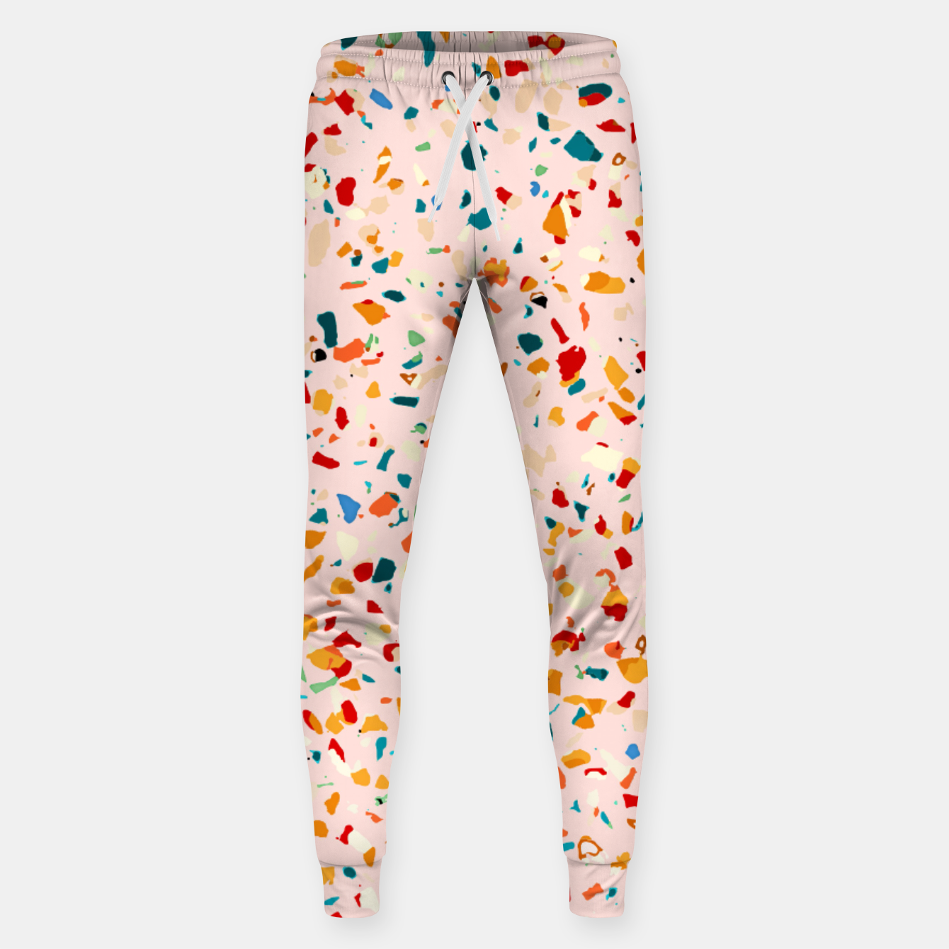Image of Blush Terrazzo, Eclectic Colorful Abstract Geometrical Shapes Tiles, Pop of Color Graphic Design Sweatpants - Live Heroes
