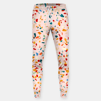 Miniatur Blush Terrazzo, Eclectic Colorful Abstract Geometrical Shapes Tiles, Pop of Color Graphic Design Sweatpants, Live Heroes