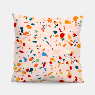 Blush Terrazzo, Eclectic Colorful Abstract Geometrical Shapes Tiles, Pop of Color Graphic Design Pillow thumbnail image