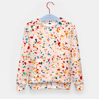 Blush Terrazzo, Eclectic Colorful Abstract Geometrical Shapes Tiles, Pop of Color Graphic Design Kid's sweater thumbnail image