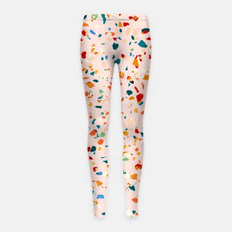 Blush Terrazzo, Eclectic Colorful Abstract Geometrical Shapes Tiles, Pop of Color Graphic Design Girl's leggings thumbnail image