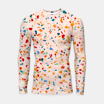 Blush Terrazzo, Eclectic Colorful Abstract Geometrical Shapes Tiles, Pop of Color Graphic Design Longsleeve rashguard  thumbnail image