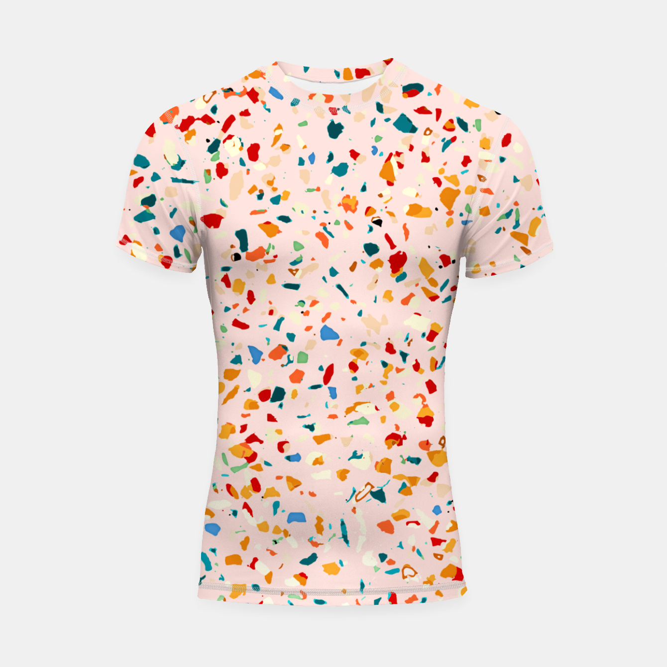 Image of Blush Terrazzo, Eclectic Colorful Abstract Geometrical Shapes Tiles, Pop of Color Graphic Design Shortsleeve rashguard - Live Heroes