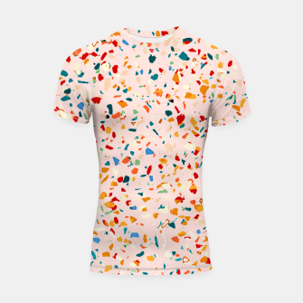 Imagen en miniatura de Blush Terrazzo, Eclectic Colorful Abstract Geometrical Shapes Tiles, Pop of Color Graphic Design Shortsleeve rashguard, Live Heroes