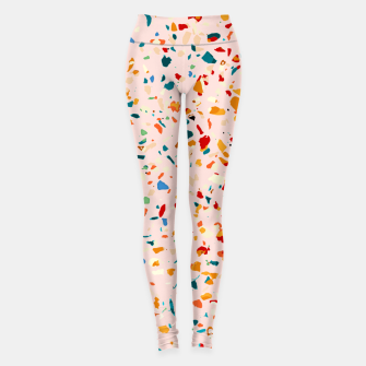 Blush Terrazzo, Eclectic Colorful Abstract Geometrical Shapes Tiles, Pop of Color Graphic Design Leggings thumbnail image