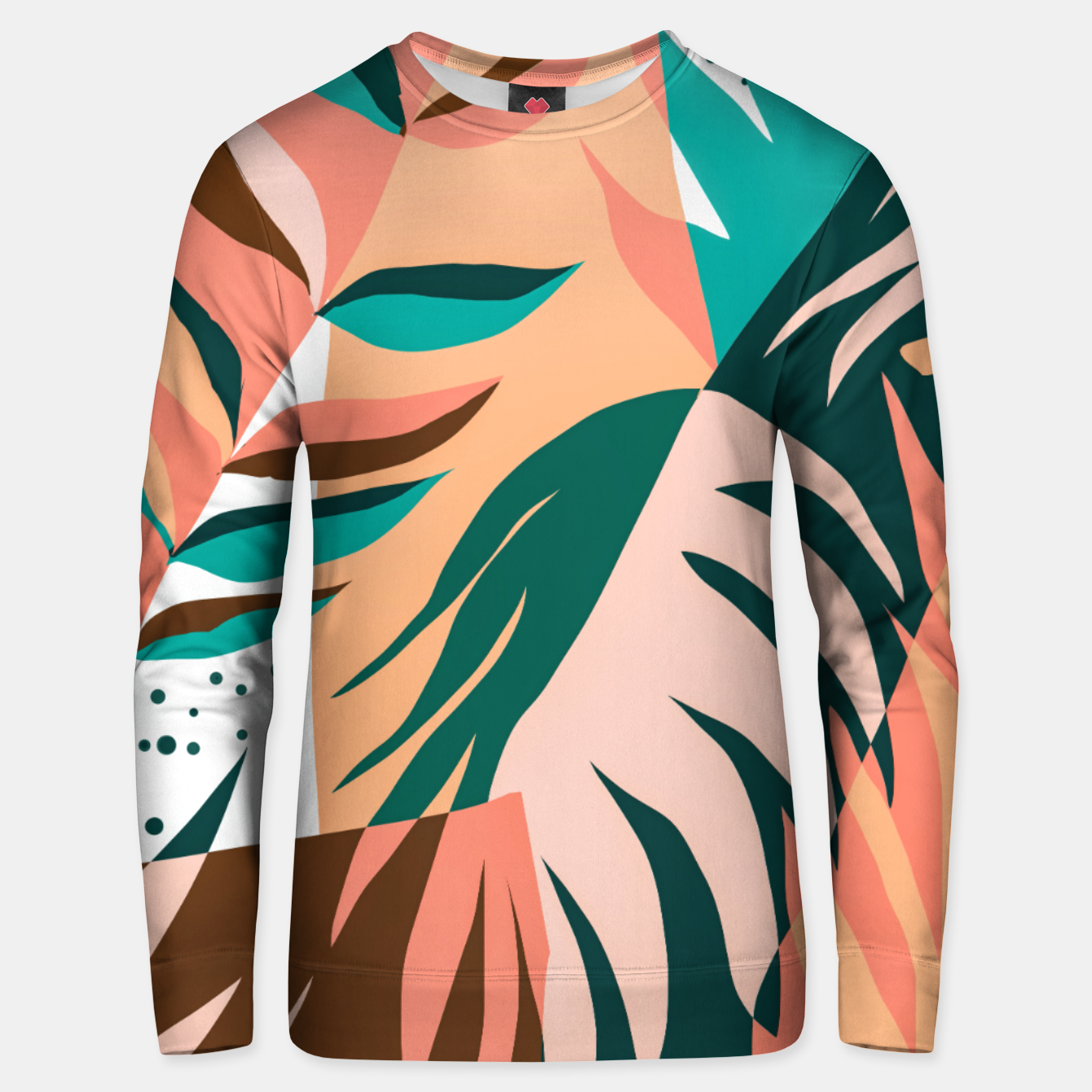 Image of Watching The Leaves Turn, Tropical Autumn Colorful Eclectic Abstract Palm Nature Boho Graphic Design Unisex sweater - Live Heroes