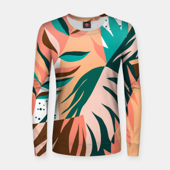 Imagen en miniatura de Watching The Leaves Turn, Tropical Autumn Colorful Eclectic Abstract Palm Nature Boho Graphic Design Women sweater, Live Heroes