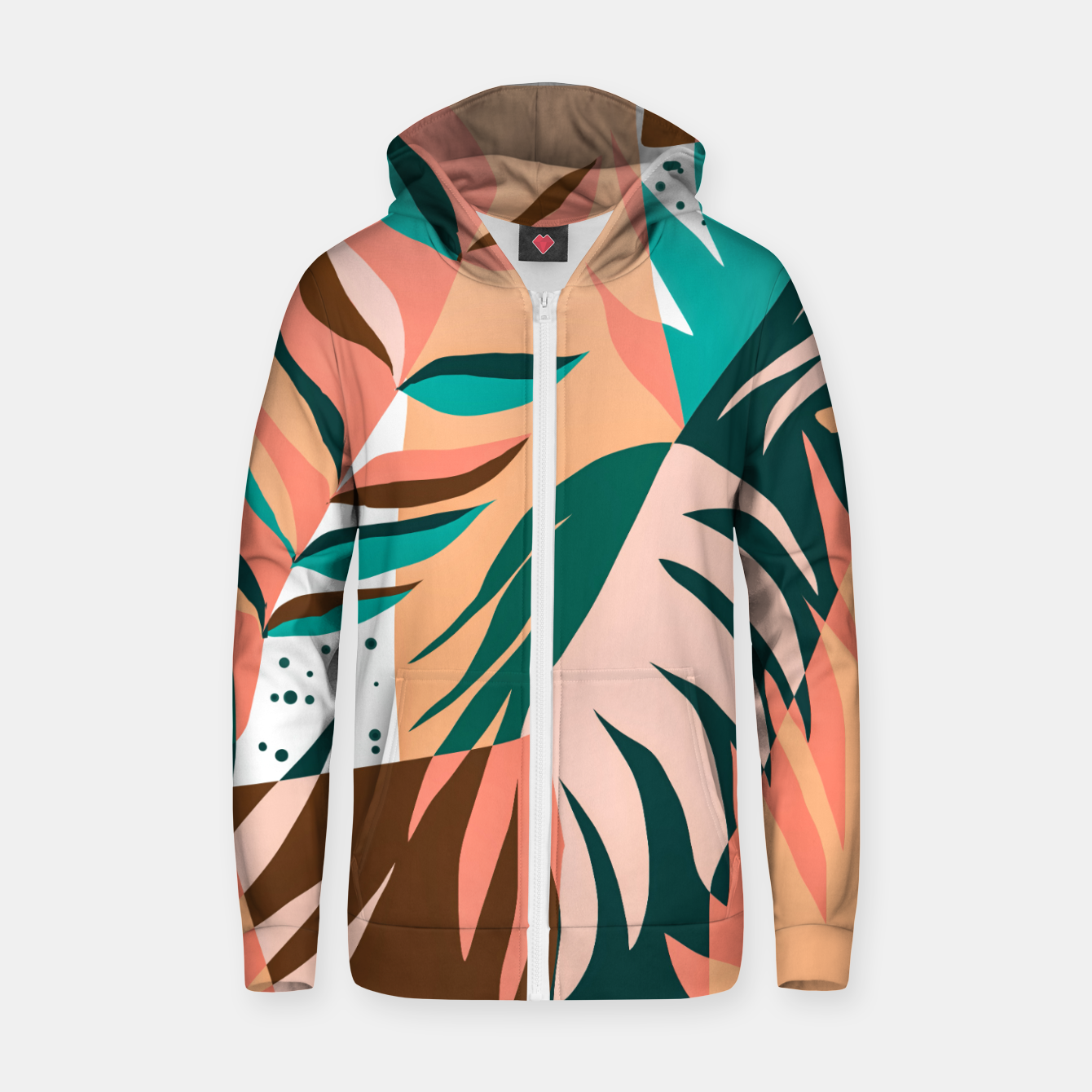 Image of Watching The Leaves Turn, Tropical Autumn Colorful Eclectic Abstract Palm Nature Boho Graphic Design Zip up hoodie - Live Heroes