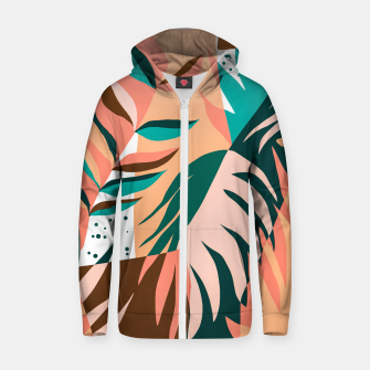 Imagen en miniatura de Watching The Leaves Turn, Tropical Autumn Colorful Eclectic Abstract Palm Nature Boho Graphic Design Zip up hoodie, Live Heroes