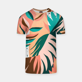 Imagen en miniatura de Watching The Leaves Turn, Tropical Autumn Colorful Eclectic Abstract Palm Nature Boho Graphic Design T-shirt, Live Heroes