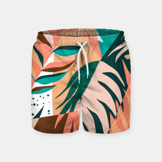 Imagen en miniatura de Watching The Leaves Turn, Tropical Autumn Colorful Eclectic Abstract Palm Nature Boho Graphic Design Swim Shorts, Live Heroes