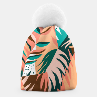 Imagen en miniatura de Watching The Leaves Turn, Tropical Autumn Colorful Eclectic Abstract Palm Nature Boho Graphic Design Beanie, Live Heroes